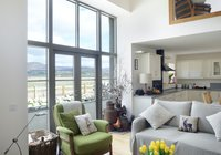Osprey Lodge living space with views out over Insh Marsh