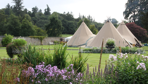 Event tents in Murthly estate gardens - Event tents in Murthly Castle walled garden for corporate events and private events (© Murthly Estate)