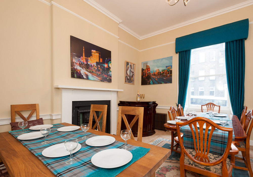 Dining room with bar directly above Fingers Piano bar Edinburgh - Our Guests feedback is that they love nothing better than falling into bed after they have enjoyed their party in the Famous Fingers Piano bar Edinburgh .