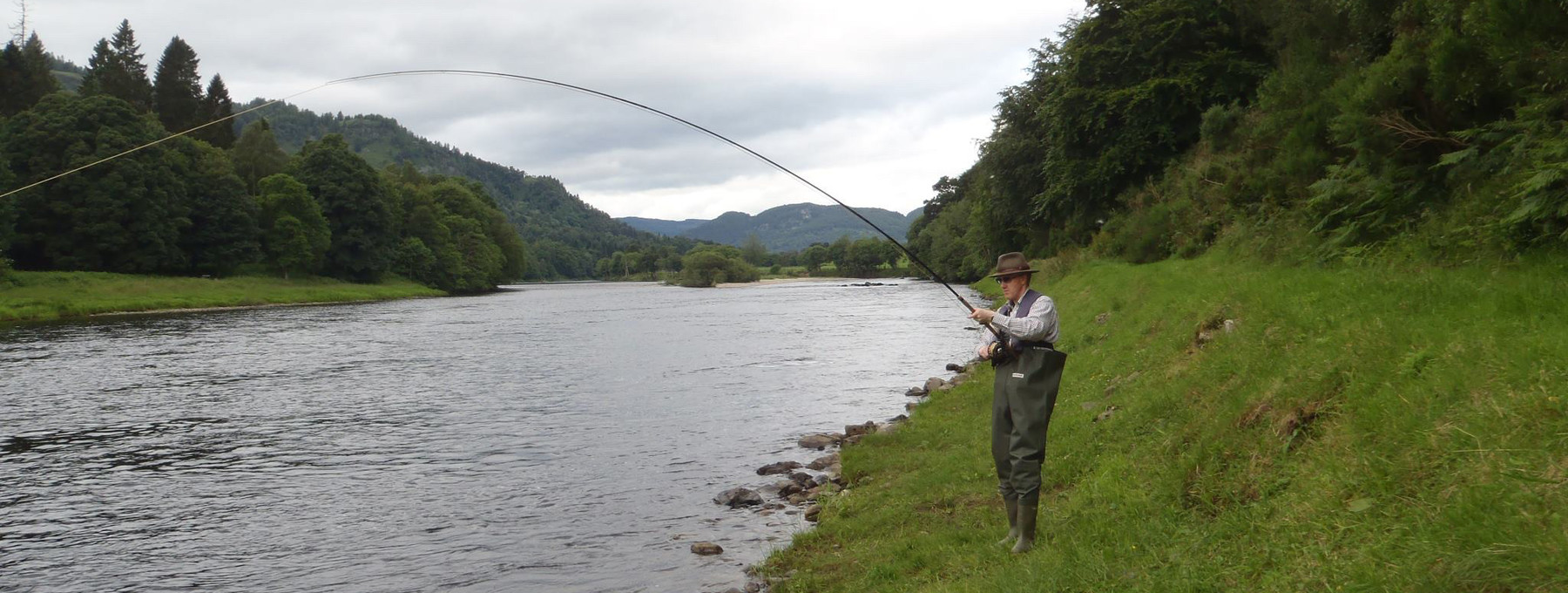Fishing on the banks of the River Tay at Murthly estates - Casting off from the banks of the River Tay, Perthshire.