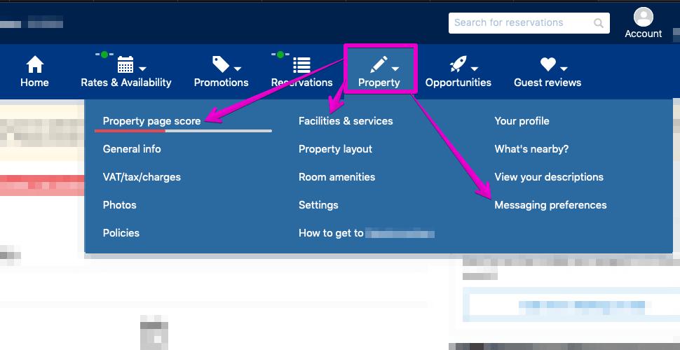 Booking.com optimisation tasks - A screenshot of the Booking.com screen with the tasks to optimise