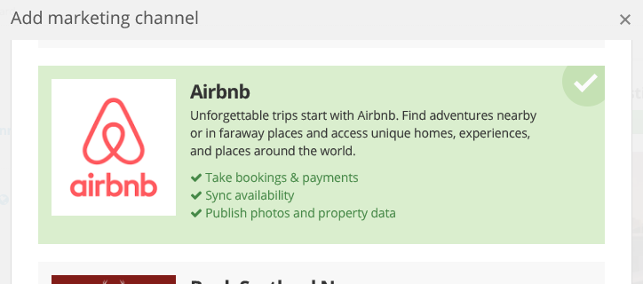Connect a property to Airbnb in Bookster - A screen grab from Bookster connecting up to Airbnb (© 2020 Bookster)