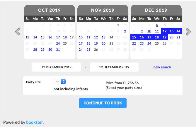 Updated calendar widget - We have updated the calendar widget to look more like the booking screens