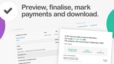 Preview, finalise, mark payments and download.