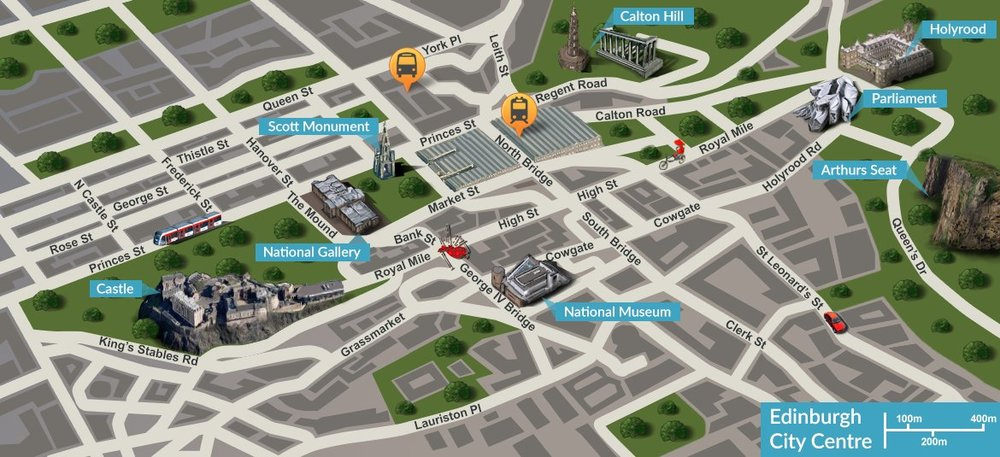 Map of Edinburgh - An illustrated map of Edinburgh and the top sights to see while you stay with us