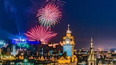 Fireworks coming from Edinburgh Castle during the summer festivals