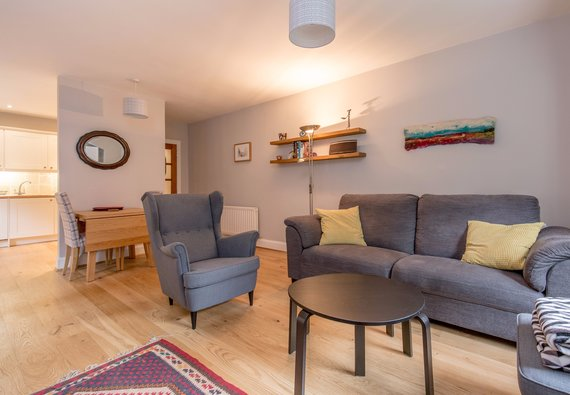 Dean Path 1 - Contemporary open plan living room and kitchen in family Edinburgh holiday let