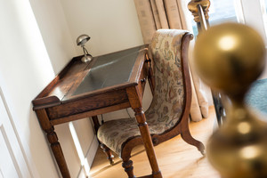 Albany Street Townhouse Desk - Antique desk and chair in luxury Edinburgh Townhouse bedroom