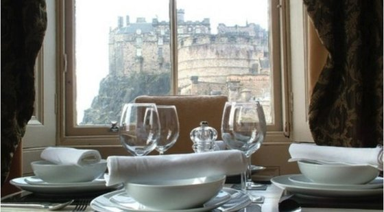 5 - Detail of family dining table with view to Edinburgh Castle