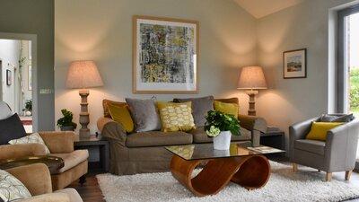 Living Room Lights on 1 - Stunning living room in stunning farm conversion in Haddington holiday rental home.