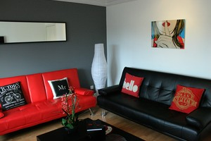 Contemporary lounge with red and black sofas.