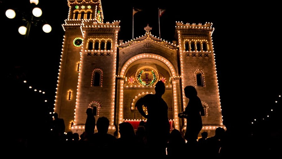 Illuminated Church Gozo Festa