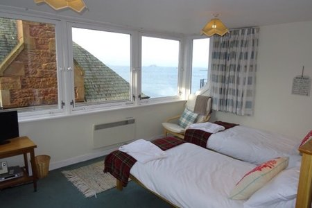 image - Master bedroom overlooking The Firth of Forth North Berwick.  New beds 2017 relax and listen to the rhythm of the waves.