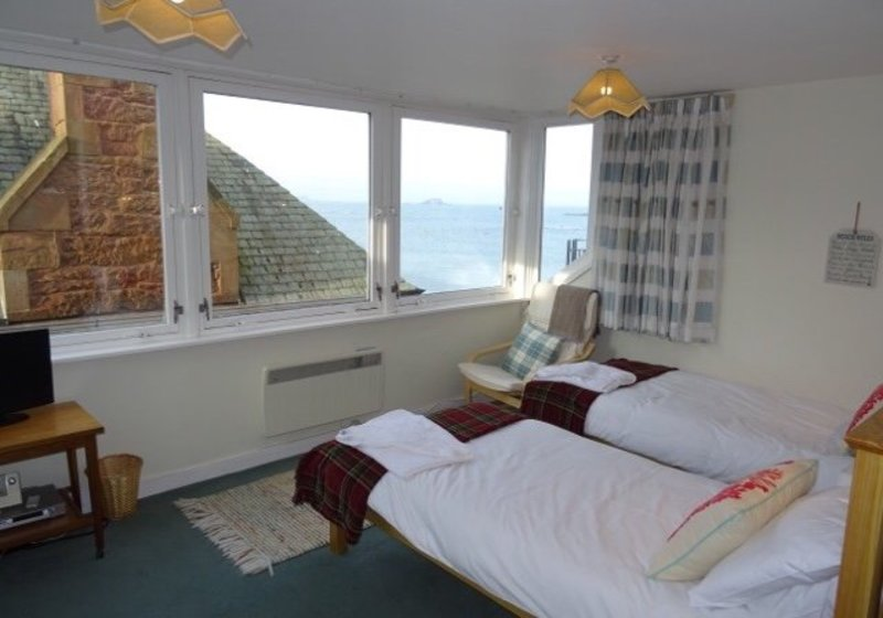 Bay View, - Master bedroom overlooking The Firth of Forth North Berwick.  New beds 2017 relax and listen to the rhythm of the waves.