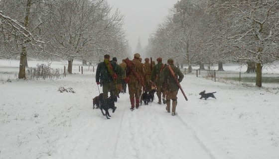 Shooting party on Murthly Estate - A pheasant shooting party heads off to the next drive in the wintry snow (© Murthly Estate)