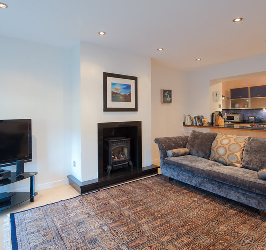 York Place Apartment-24 - Spacious family living/kitchen area with wood burning stove
