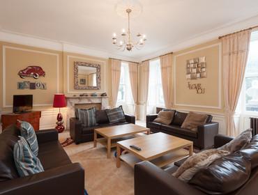 Modern fun entertaining room with views onto Queen Street Gardens.