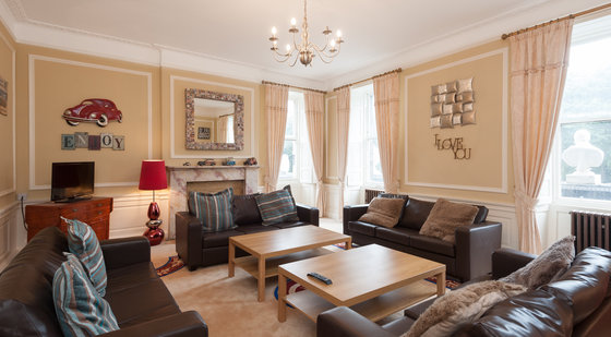 Modern fun entertaining room with views onto Queen Street Gardens.