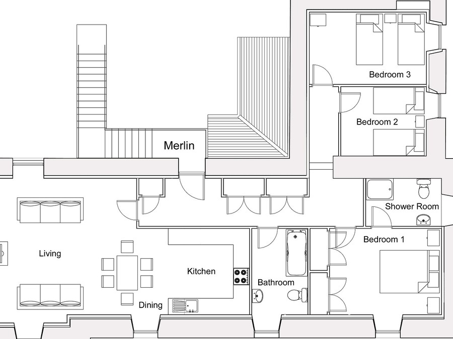 Merlin Floorplan - Layout of Merlin Apartment - not to scale