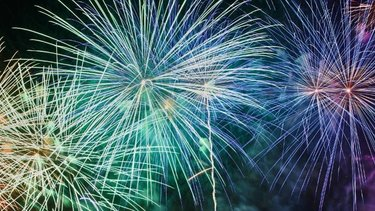 Colourful fireworks in the night sky