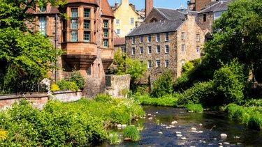 Dean Village, Water of Leith on a sunny day in Edinburgh