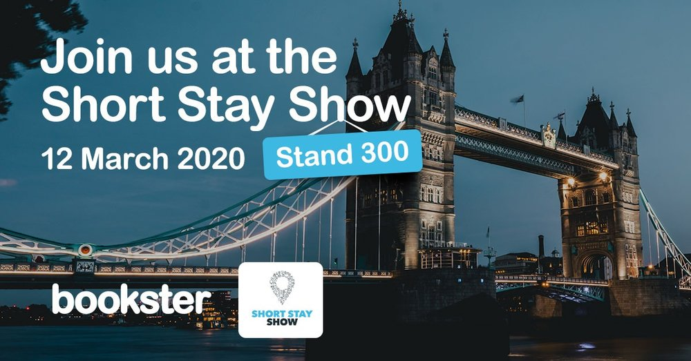 Short Stay Show 2020 - Meet Bookster at the SHort Stay Show in London in 2020, stand number 632!
