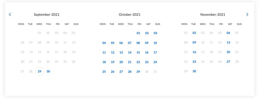 Calendar Widget (© 2021 Bookster)