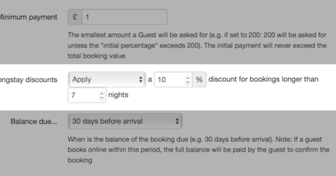 Long stay discount screengrab - Screen grab of long stay discount setting in Bookster (© Tribalogic Limited)