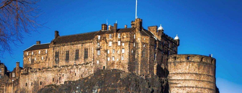 Edinburgh Castle against a blue sky