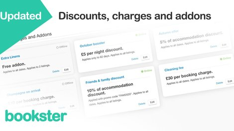 Discounts, Charges and Extras for holiday rentals - Our new style of Discounts, Charges and Extras revolutionise the way you manage your holiday rentals.
