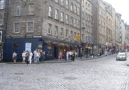 The corner of St Mary;s Street and the Royal Mile