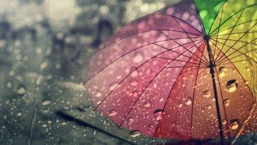 Colourful Umbrella in the rain