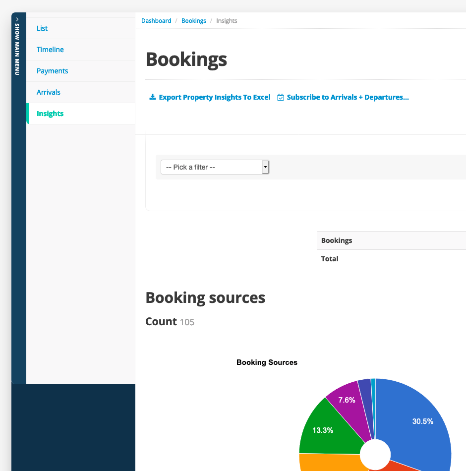 Booking Insights in the new look - A screenshot of the booking insights in the new Bookster (beta) (© 2019 Bookster)