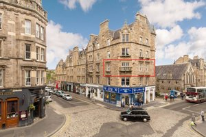 This apartment overlooks The Royal Mile.