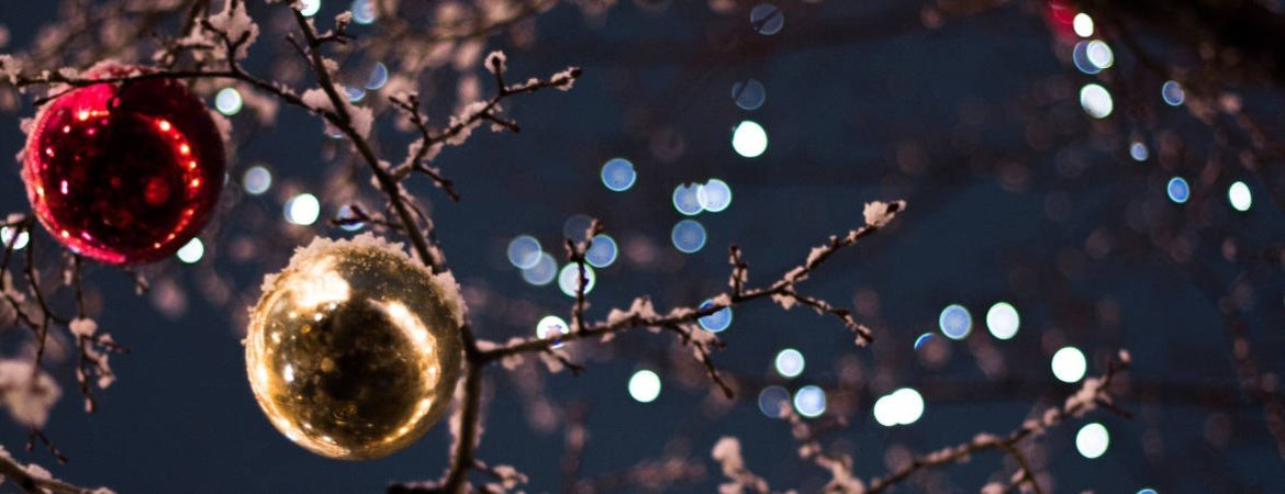 Christmas lights and baubles on outdoor tree