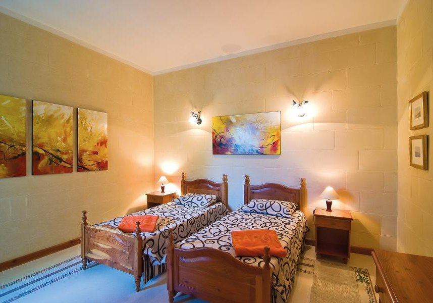 One of the bedrooms in the Gozo villa