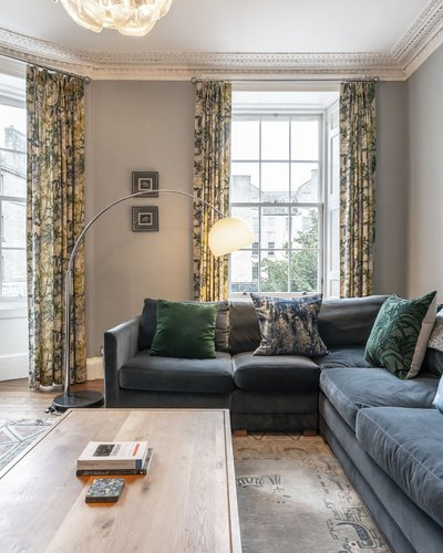 Living Room - Edinburgh City Centre location.  Bright, comfortable living room.