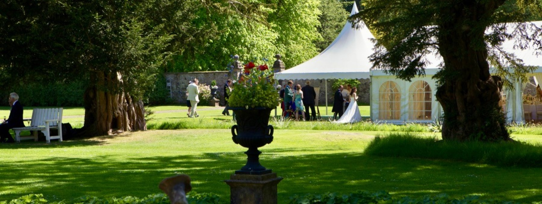 Marquee in the walled garden - There's plenty of room in Murthly Castle's walled garden for a marquee, and still lots of room to play outside! (© Murthly Estate)