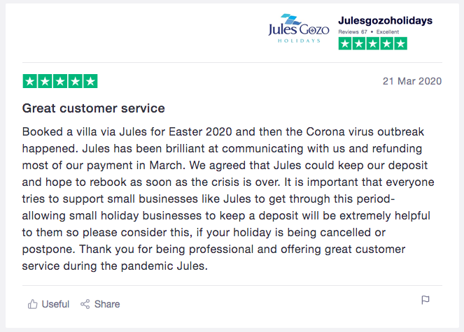 Jules Gozo Holidays Review - An example of a customer review given through excellent customer service during COVID19