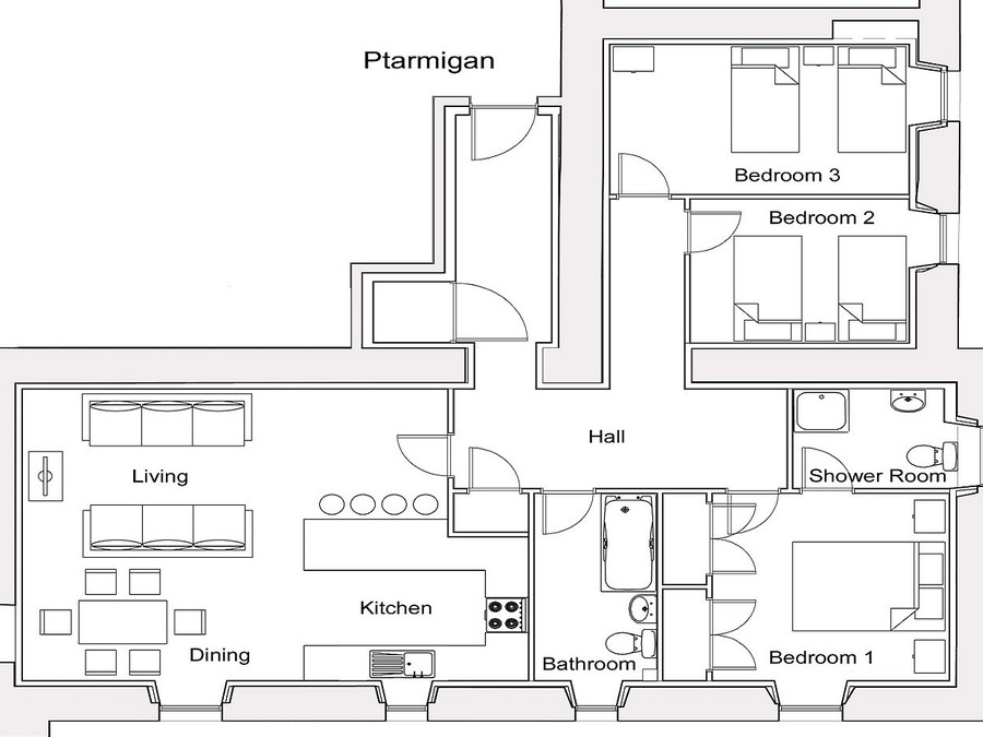 Ptarmigan Floorplan - Layout of Ptarmigan Apartment - not to scale