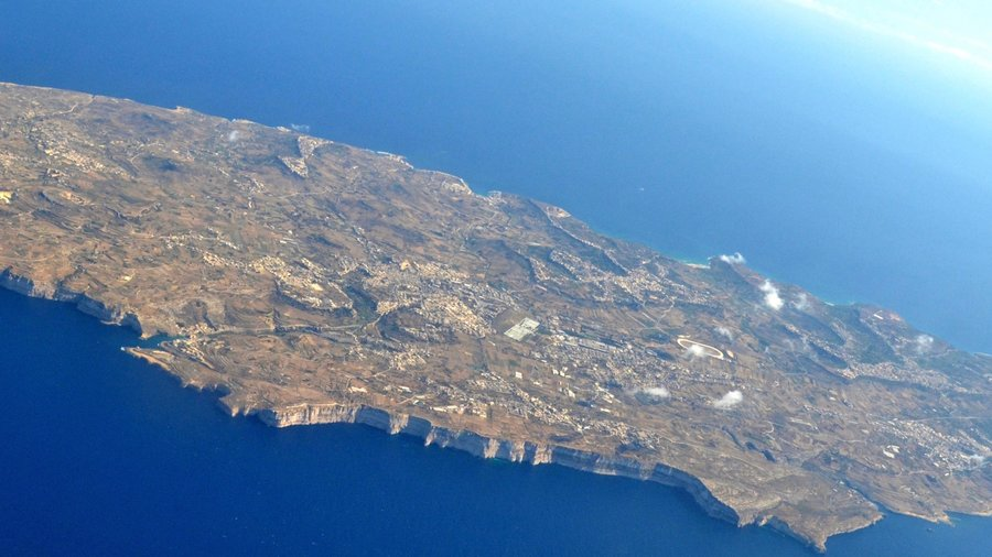 Airbnb in Gozo Island - View of Mediterranean island from the air on arrival to the Airbnb in Gozo at Malta Luqa airport.