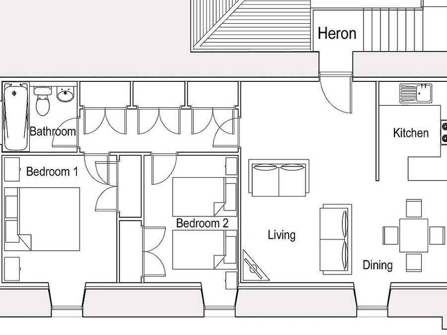 Heron Floorplan - Layout for Heron Apartment - not to scale