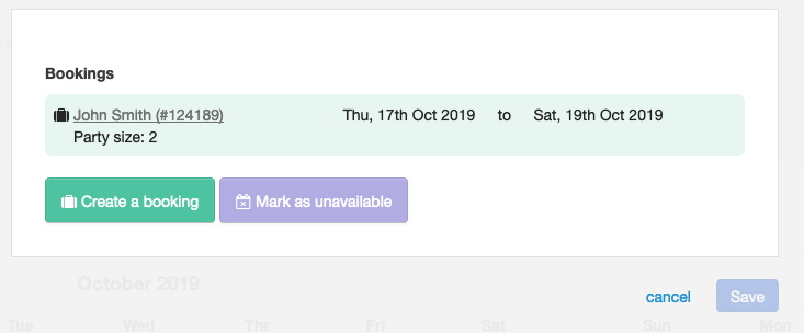 Party size on calendar modal - The party size is now shown in the modal when viewing a booking from the property calendar