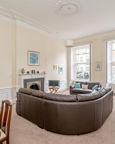 Melville Street Lounge - Loune  with corner sofa and sash windows