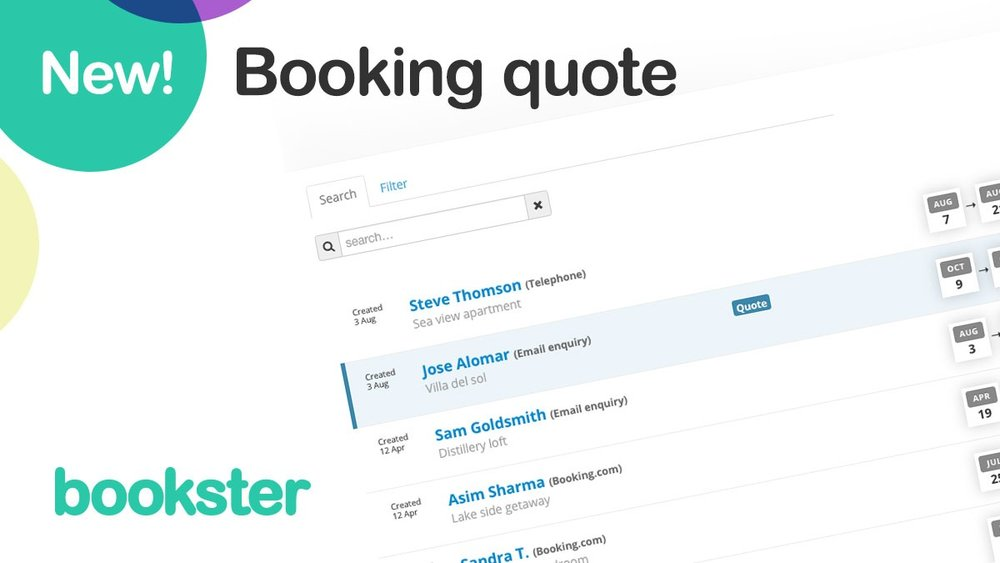 Booking quote tool - Create booking quote for your guests - only with Bookster