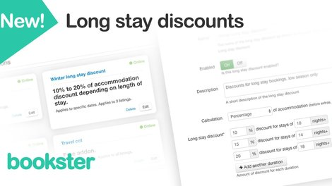 Flexible Long Stay Discount for holiday rentals - Launch of the updated Long Stay Discounts feature within Bookster property management system for holiday rentals.