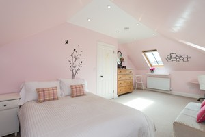 Pale pink bedroom with tree and bird design on wall, roof window and sloped ceiling.