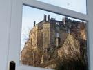 Edinburgh self catering Castle Wynd South view through lounge door - Edinburgh self catering Castle Wynd South view through lounge door of Edinburgh Castle