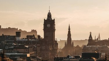 City view of Edinburgh at sunset