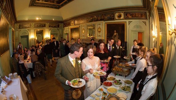 Wedding buffet in the Music Room - The Music Room is one of Murthly Castle's beautiful reception rooms. (© Nigel Lumsden)